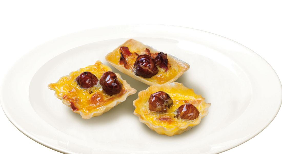 Tortine salate con porro, pancetta e nocciole Ventura