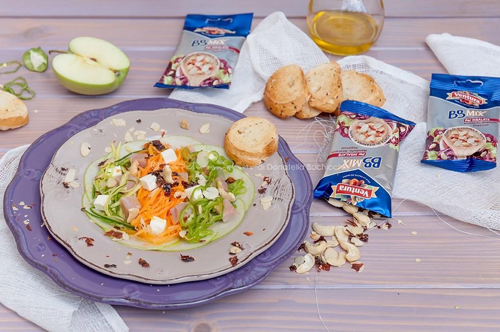 Insalata di friggitelli, verdure, prosciutto e feta con BBMix Ventura