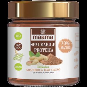 Crema spalmabile proteica con arachidi e raw cacao