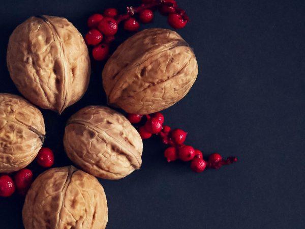 noci in guscio frutti rossi sfondo nero