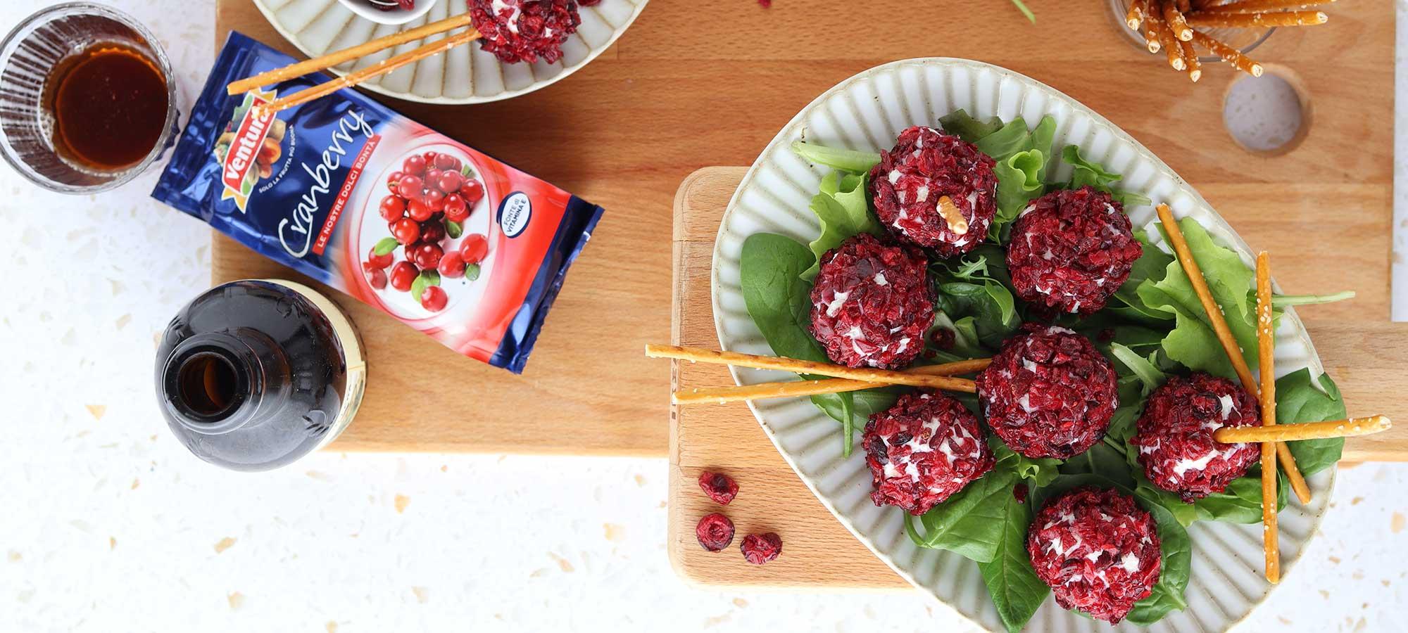 Tartufini salati veloci con cranberry Ventura